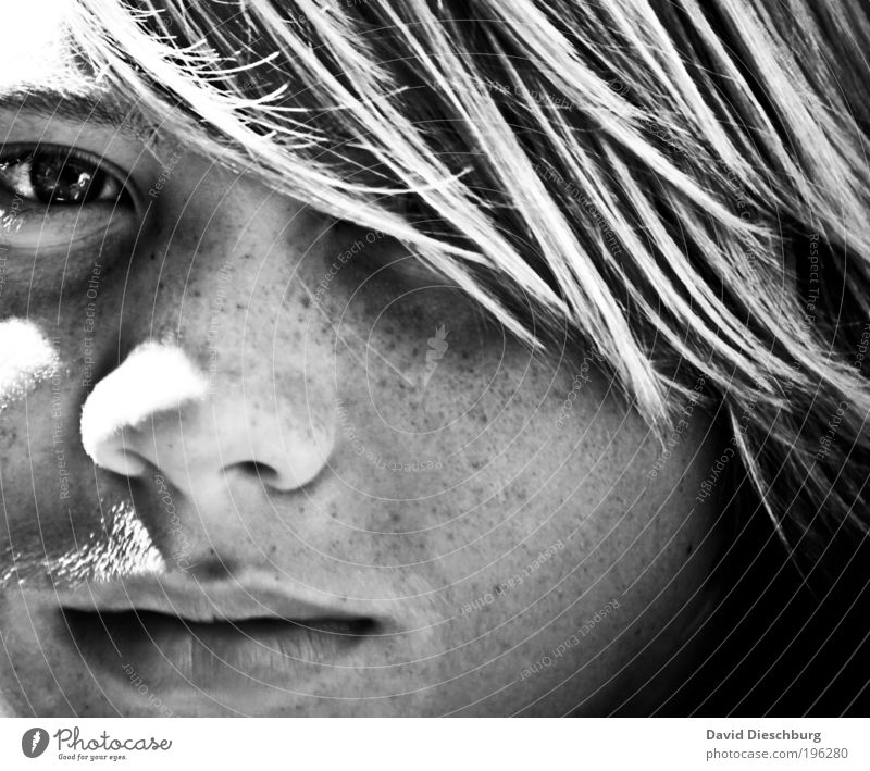On a summer's day. Harmonious Youth (Young adults) Skin Head Hair and hairstyles Face Eyes Nose Mouth Lips 1 Human being Looking Freckles Shadow Strand of hair