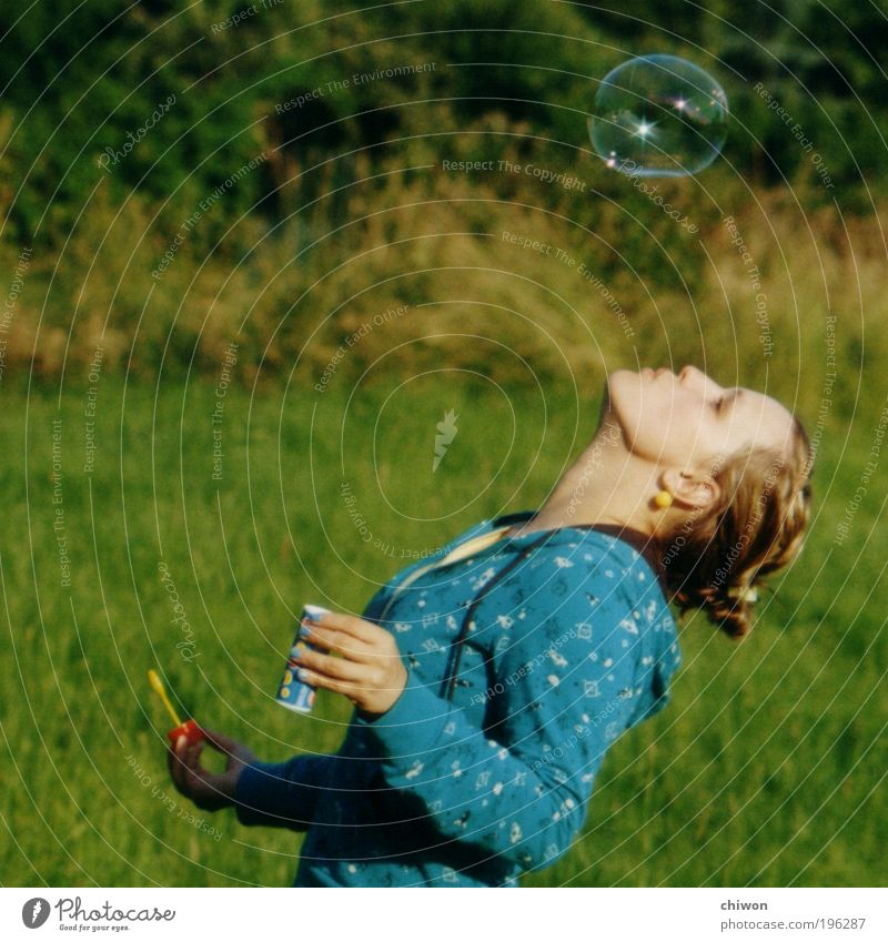 Soap bubbles 3 Joy Summer Summer vacation Sun Human being Young woman Youth (Young adults) 1 18 - 30 years Adults Discover Brash Happiness Fresh Blue Green