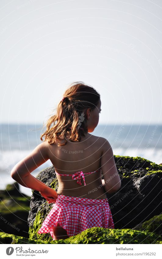 Human being Child Nature Girl Ocean Beach Environment Life Head Hair and hairstyles Happy Coast Weather Infancy Waves Wind