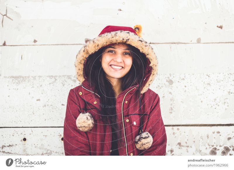 Human being Youth (Young adults) Young woman Beautiful Joy Winter 18 - 30 years Adults Cold Wall (building) Life Lighting Natural Feminine Happy Friendship