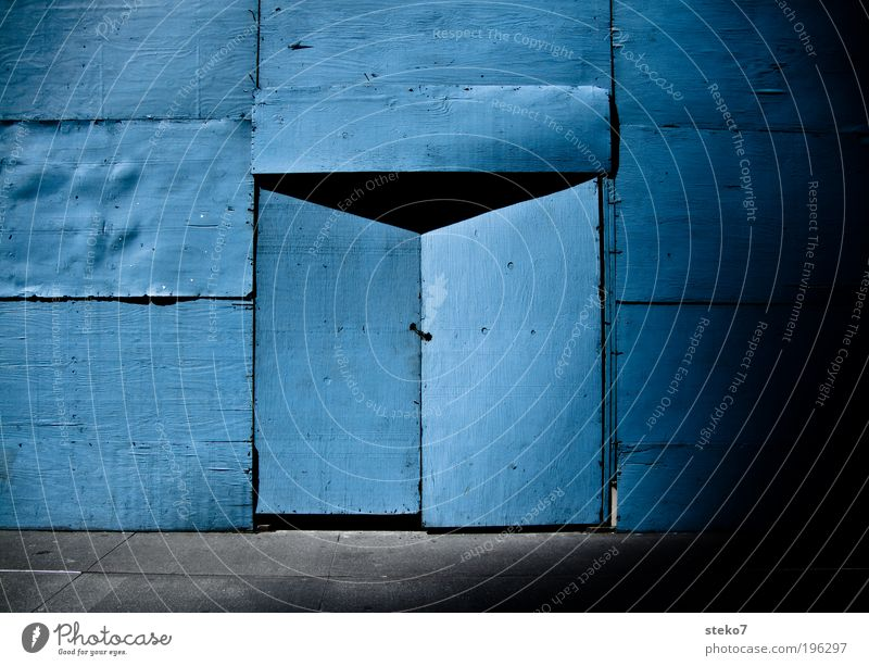 Blue Door Closed Construction site Curiosity Mysterious Entrance Build Bans Wooden wall Hiding place Portal Wall (building)