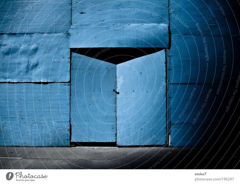 into the blue Door Build Curiosity Blue Bans Construction site Wooden wall Closed Portal Mysterious Hiding place Colour photo Exterior shot Deserted