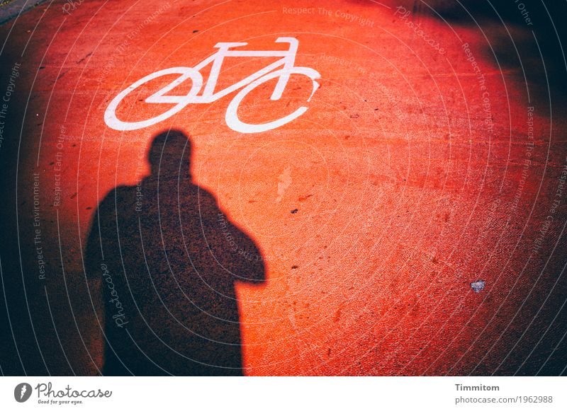 Karl is at a loss. Transport Cycling Street Sign Think Looking Dark Crazy Red Black White Amazed Perplexed Colour Shadow Silhouette Flashy Black & white photo