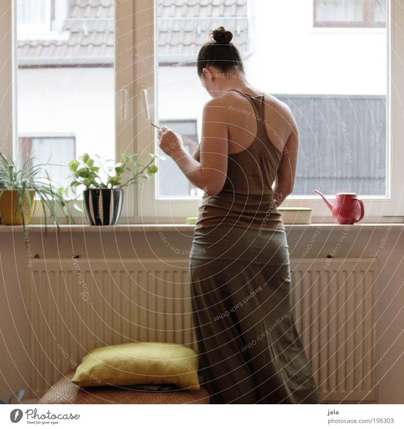 Woman Human being Plant Adults Feminine Window Emotions Happy Dream Bright Room Flat (apartment) Esthetic Observe Vantage point Joie de vivre (Vitality)