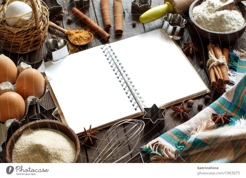 Blank cooking book, ingredients and utensils White Wood Brown Fresh Table Paper Herbs and spices Kitchen Dessert Egg Bowl Baked goods Sugar Dough Cooking Raw