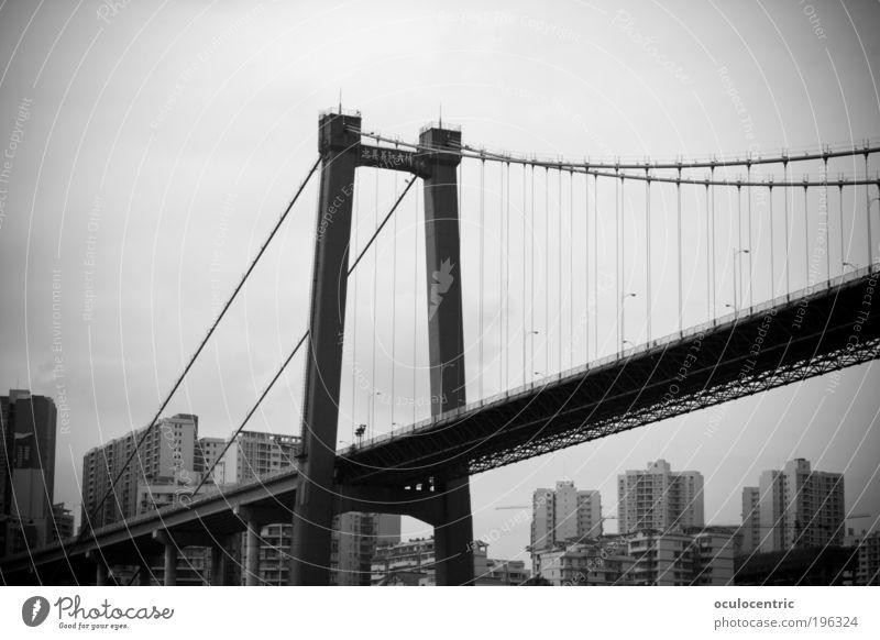 City Bridge Logistics Asia China Skyline Stress Black & white photo Stagnating Light Populated Town