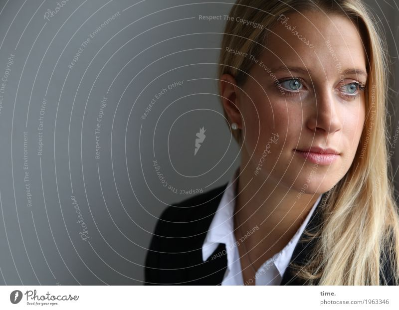 neele Feminine Woman Adults 1 Human being Shirt Jacket Blonde Long-haired Observe Think Looking Wait pretty Watchfulness Endurance Unwavering Concern Fatigue