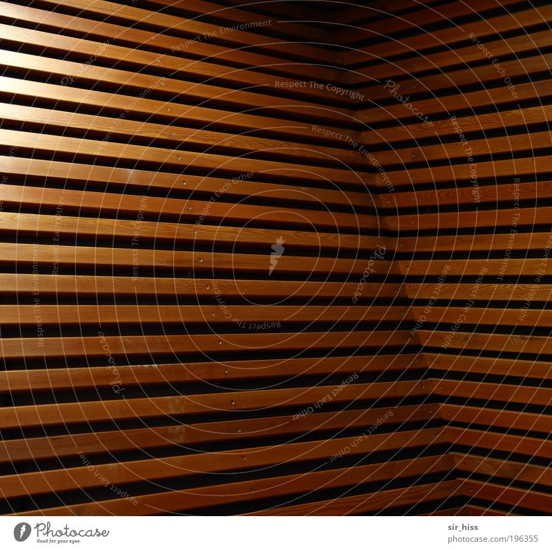 Linear unbalance Interior design Architecture Wall (barrier) Wall (building) Facade Wood Esthetic Exceptional Sharp-edged Brown Gold Complex Perspective