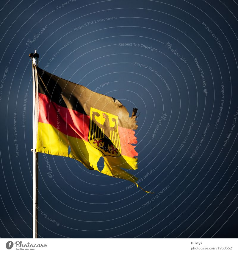 Poor rich Germany Storm clouds Sign Federal eagle Flag German Flag Authentic Broken Gold Red Black Might Responsibility Concern Distress Variable Frustration