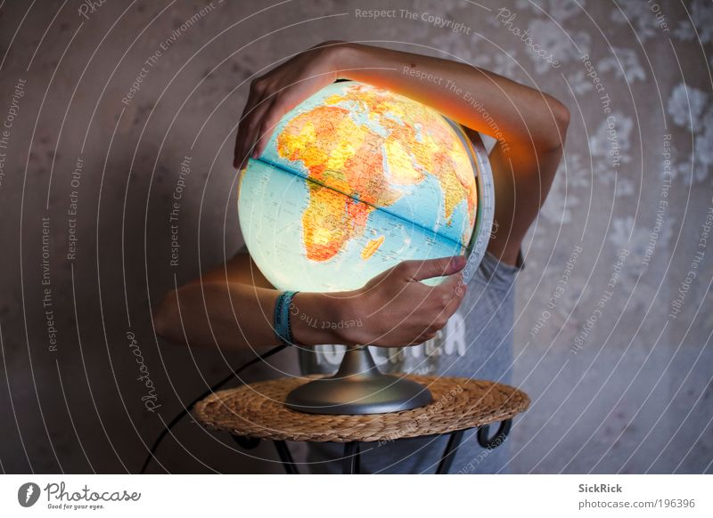 Nature Blue Yellow Brown Earth Arm Environment Europe Development Africa Climate Protection Illuminate Globe Map Human being