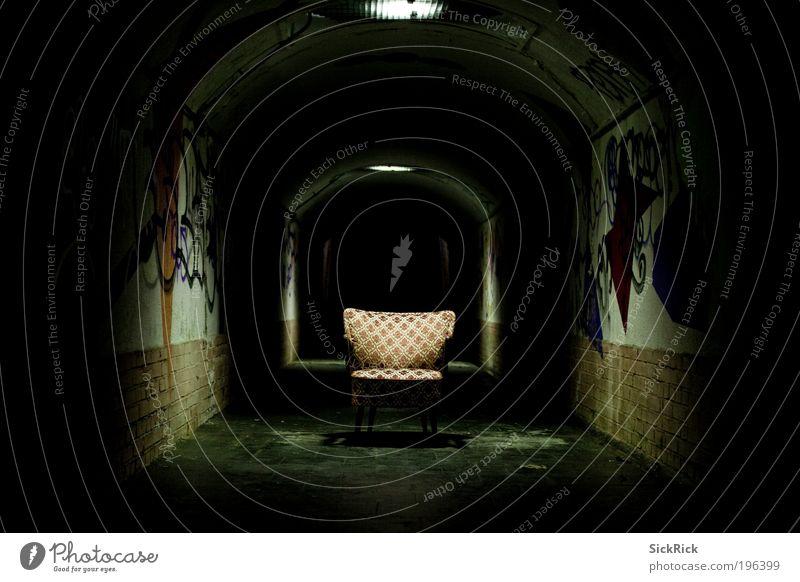 Black Dark Wall (building) Graffiti Wall (barrier) Fear Dangerous Retro Chair Creepy Tunnel Distress Armchair Furniture Copy Space left