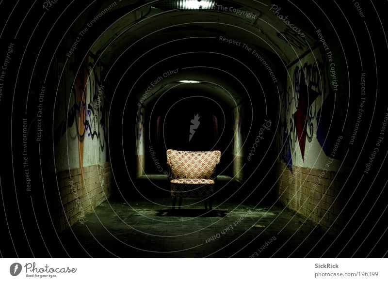 Endless Tunnel Wall (barrier) Wall (building) Chair Armchair Graffiti Dark Creepy Black Fear Dangerous Distress Retro Colour photo Deserted Copy Space left