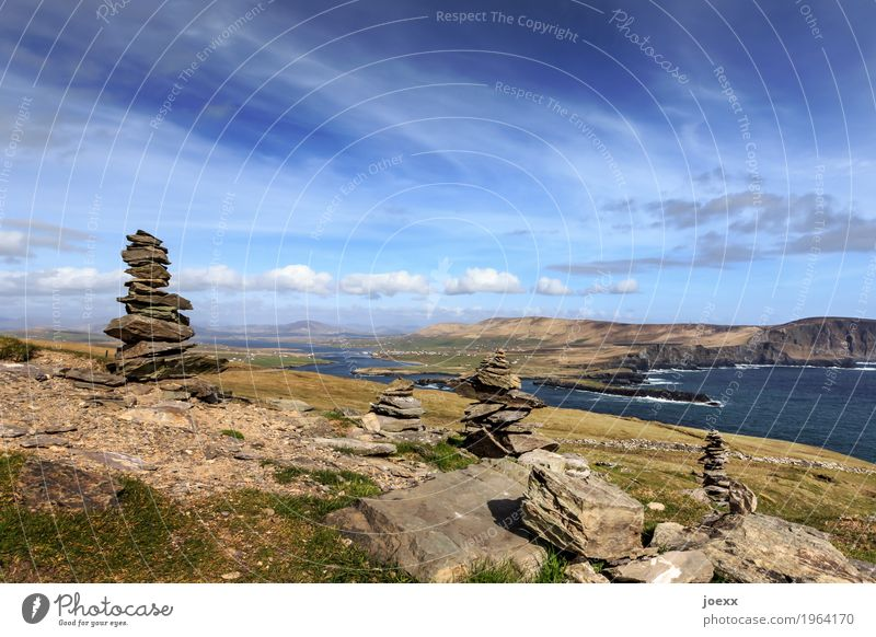 To be there Hiking Landscape Sky Clouds Beautiful weather Hill Rock Waves Ocean Island Ireland Valentia Iceland Stone Tall Blue Green White Calm Wanderlust
