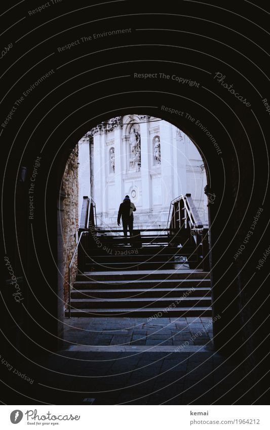 passage Calm Vacation & Travel Tourism Trip Adventure Sightseeing City trip 1 Human being Venice Italy Church Bridge Tunnel Stairs Facade Banister Passage