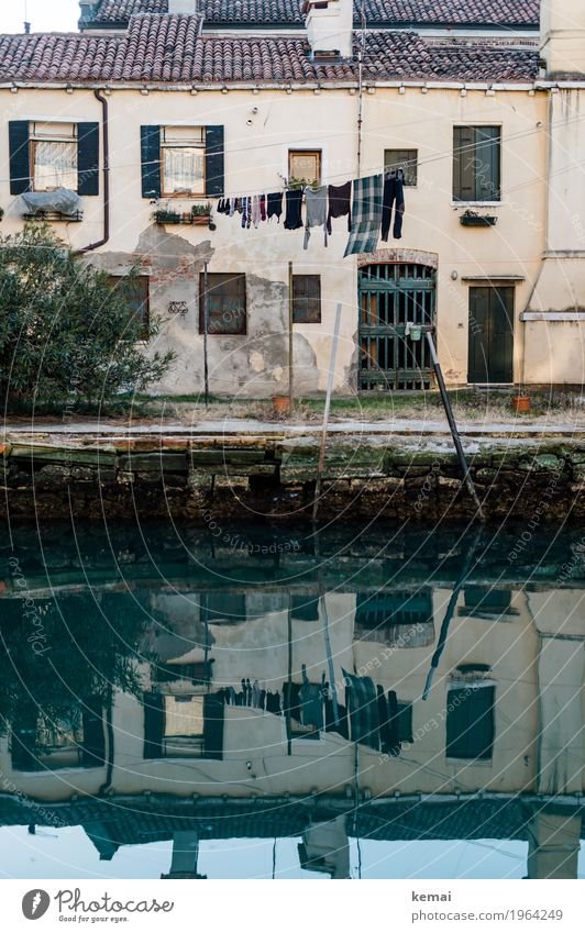 Venice, Italy Water Surface of water Reflection Town Downtown Old town Deserted House (Residential Structure) Detached house Wall (barrier) Wall (building)