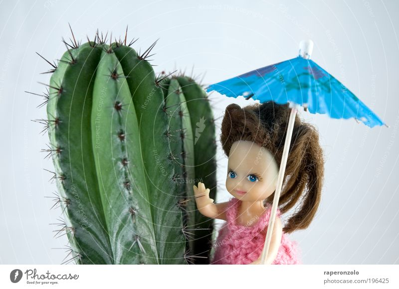 holiday Vacation & Travel Tourism Trip Far-off places Safari Expedition 1 Human being Cactus Exotic Desert Umbrellas & Shades Toys Doll Thorny Blue Green