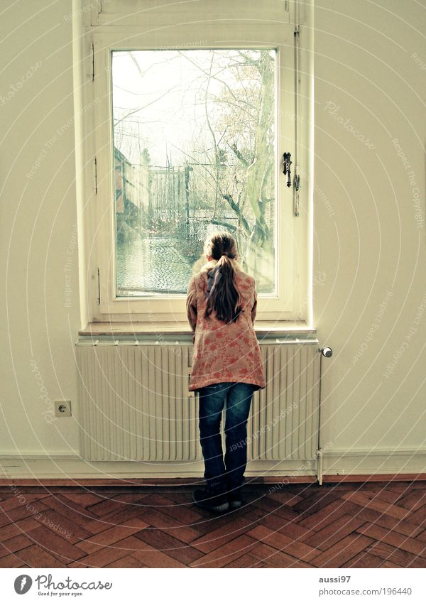 Child Girl Window Dream Room Vantage point Observe Ground Living room Heater Parquet floor Heating Dreamily Human being Portrait format