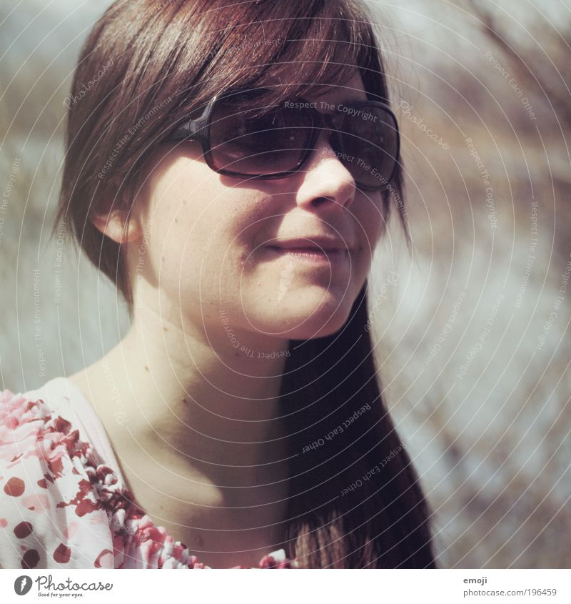 Sunglasses is mounted Feminine Young woman Youth (Young adults) 1 Human being 18 - 30 years Adults Accessory Brunette Long-haired Beautiful Positive Pink