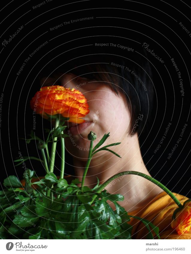 Woman Human being Nature Youth (Young adults) Flower Green Plant Red Leaf Black Yellow Dark Feminine Emotions Blossom Head