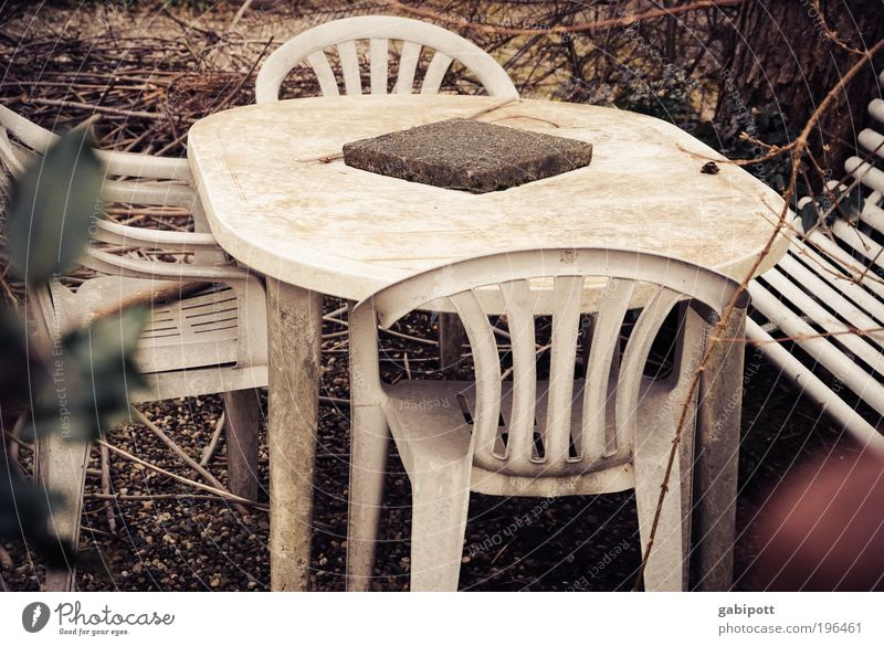 Winter Loneliness House (Residential Structure) Autumn Garden Table Living or residing Broken Gloomy Retro Chair Transience Plastic Mysterious Balcony Camping