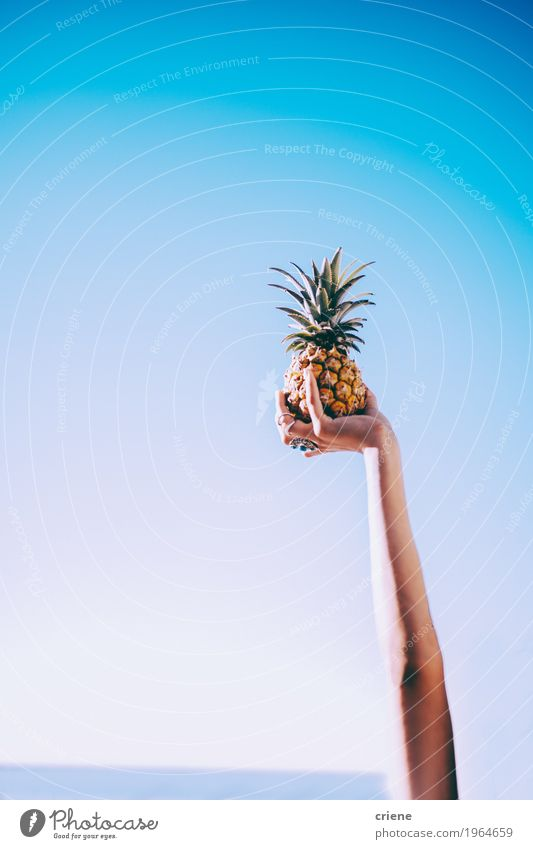 Close-up of hand holding pineapple in blue sky Sky Summer Beautiful Healthy Eating Sun Hand Joy Lifestyle Feminine Happy Food Bright Fruit Copy Space