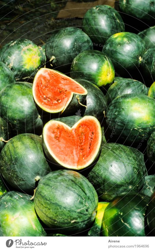 Green Red Healthy Food Fruit Fresh To enjoy Heart Shopping Part Appetite Cut share Melon Heart-shaped Market stall