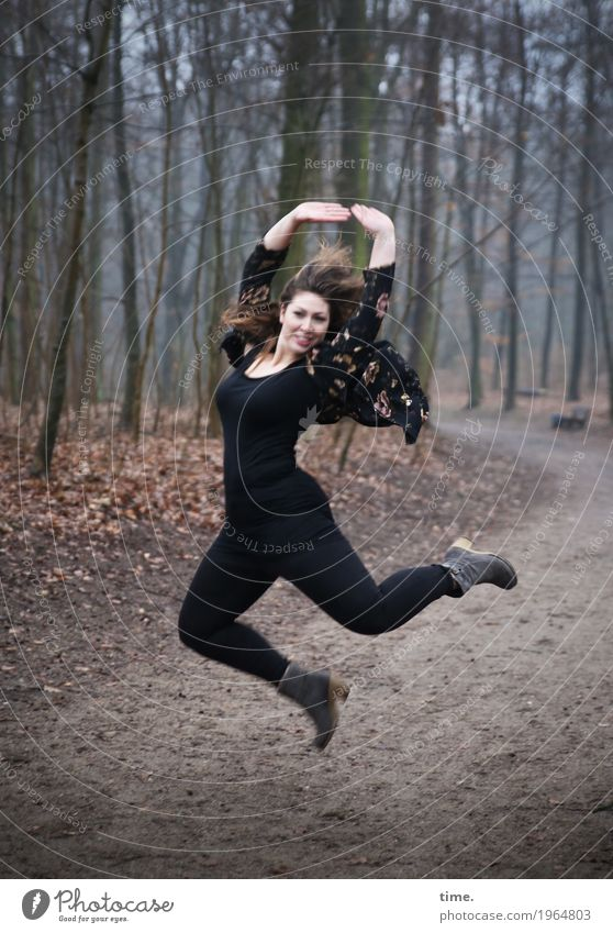 Anne Feminine Woman Adults 1 Human being Dancer Winter Tree Forest Lanes & trails T-shirt Pants Jacket Brunette Long-haired Movement Looking Friendliness