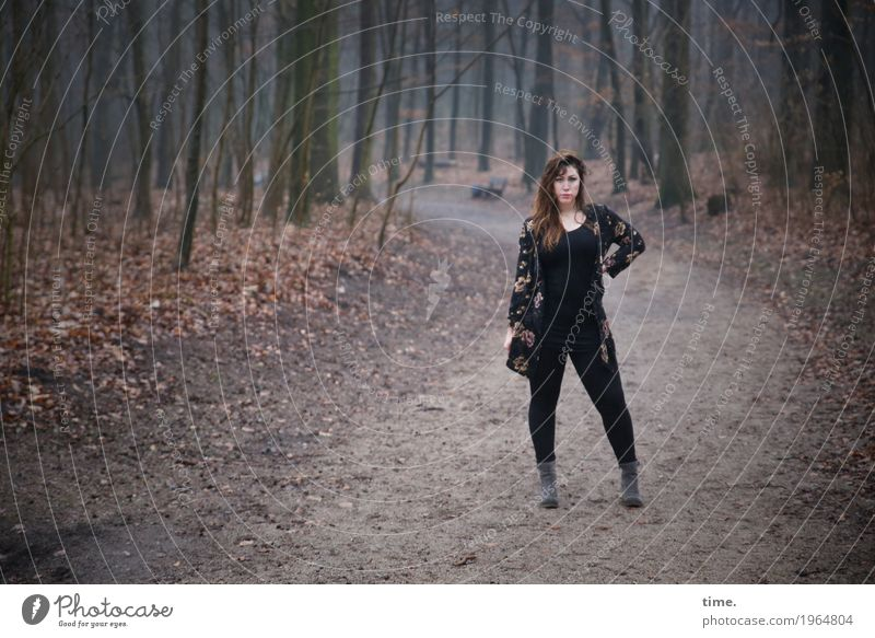 Anne Feminine Woman Adults 1 Human being Forest T-shirt Pants Jacket Boots Brunette Long-haired Observe To hold on Looking Stand Wait Beautiful Self-confident