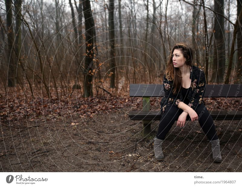 Anne Feminine Woman Adults 1 Human being Forest T-shirt Pants Jacket Boots Brunette Long-haired Bench Observe Looking Sit Wait Beautiful Self-confident