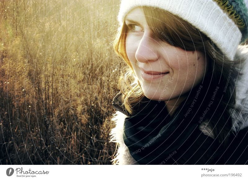 Woman Human being Nature Youth (Young adults) Beautiful Winter Face Cold Meadow Feminine Warmth Contentment Field Adults Gold Esthetic