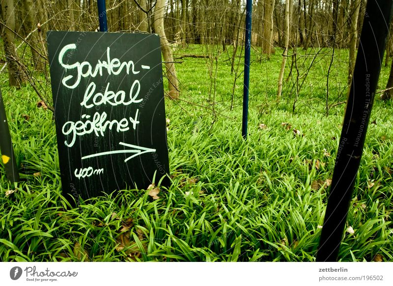 Nature Green Far-off places Forest Relaxation Garden Grass Spring Park Trip Signs and labeling Information Gastronomy Arrow Blackboard Chalk