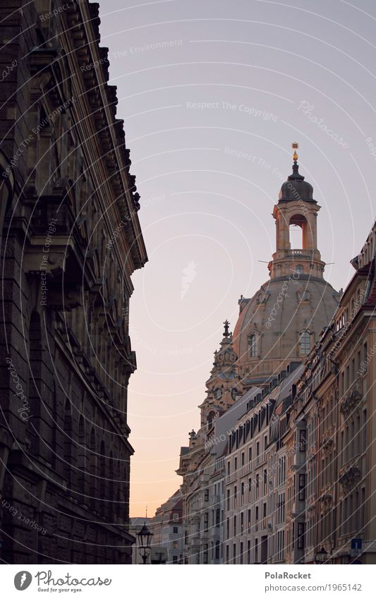 #A# Anticipation Art Esthetic Frauenkirche Dresden Domed roof Baroque Tower Blue sky Summer evening Romance Old town Tourist Attraction Colour photo