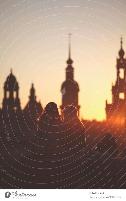 #A# Dresden Friendship Art Work of art Painting and drawing (object) Esthetic Skyline Romance Saxony Old town Culture Cultural monument Dresden Hofkirche