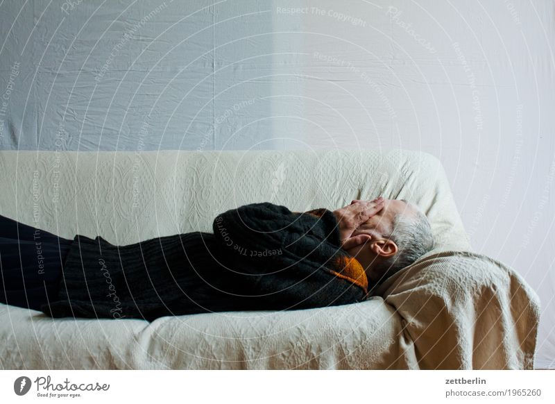 Lying on the couch Bed Couch Lie Sofa Man Human being Sleep Siesta Rest Copy Space Bolster Blanket White Grief Sadness Head Hand Cold Hide Ignorant Ignore Blind