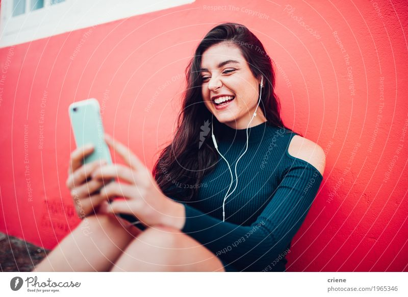Happy caucasian women listening to music on smart phone Lifestyle Joy Music Telephone Cellphone MP3 player PDA Technology Entertainment electronics Human being