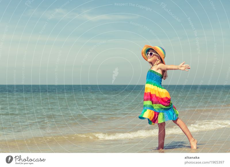 Little girl standing on the beach Human being Child Woman Nature Vacation & Travel Summer Sun Hand Ocean Relaxation Joy Girl Beach Adults Lifestyle Emotions