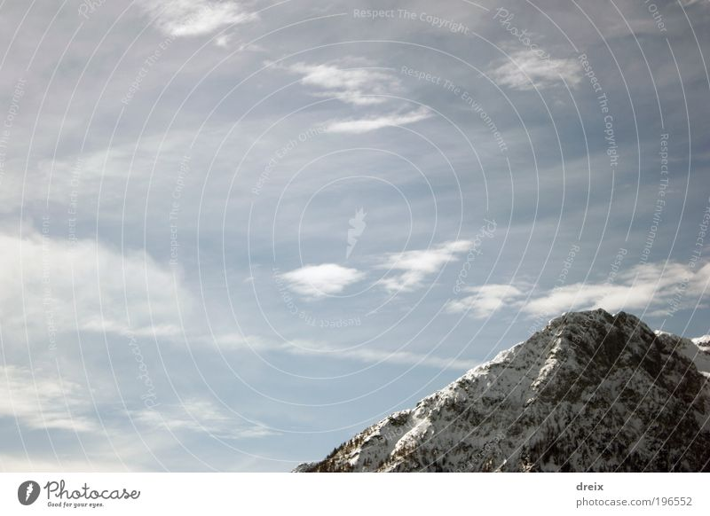 Up there... Nature Landscape Elements Air Sky Clouds Winter Beautiful weather Snow Rock Alps Mountain Snowcapped peak Free Gigantic Infinity Bright Tall Blue
