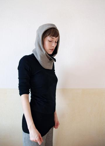 Inside view Young woman Youth (Young adults) Life Face Hand Fashion Clothing Hooded (clothing) Cold Gray Black Moody Calm Contentment Power Withdrawn Meditative