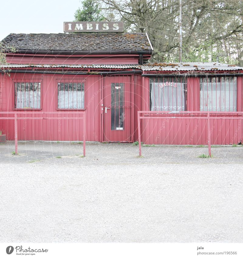 time for an imbiss Nutrition House (Residential Structure) Hut Places Manmade structures Building Window Door Roof Old Gloomy Red Snack bar Colour photo