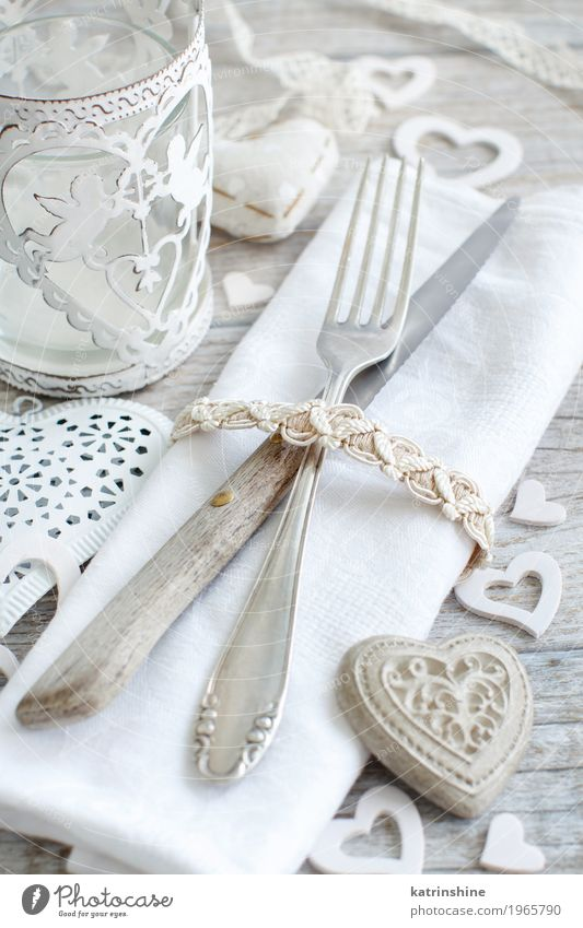 Valentine day rustic table setting on a wooden table White Love Wood Feasts & Celebrations Decoration Table Heart Romance Wedding Shabby Lunch Valentine's Day Festive Cutlery Rustic Fork