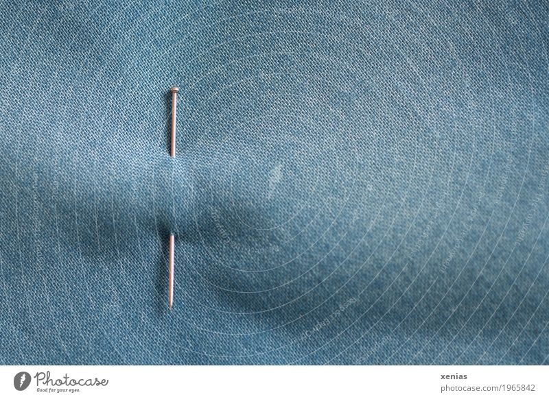 there's a needle in the blue fabric Handcrafts Stitching Housekeeping Pin Cotton plant Blue Silver To plunge Sewing meek Cloth Embroider sewing