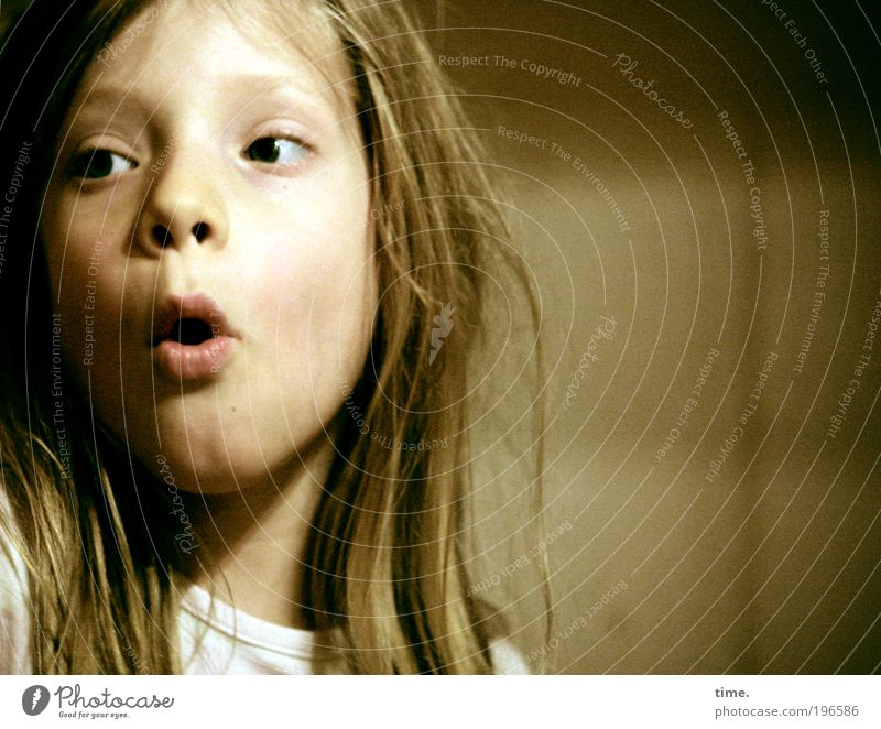 Child Girl Eyes Life Hair and hairstyles Wild Concentrate Brave Facial expression Enthusiasm Portrait photograph Amazed Single-minded Face Energized