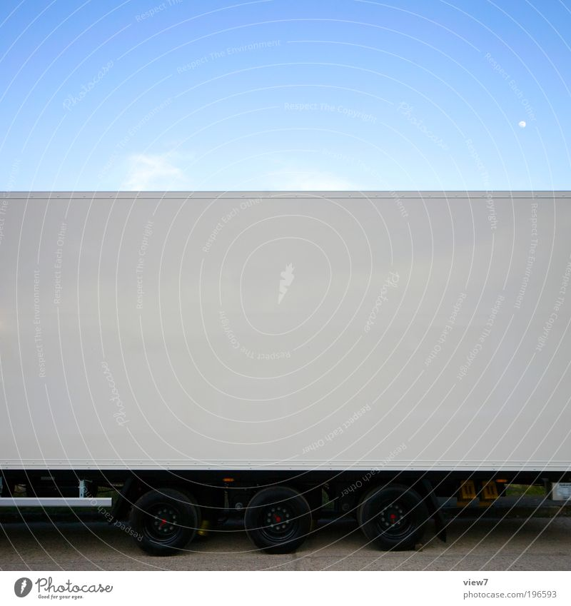 Trailer Transport Means of transport Logistics Vehicle Truck Metal Sign Line Stripe Esthetic Authentic Dark Sharp-edged Simple Large Long New Original White