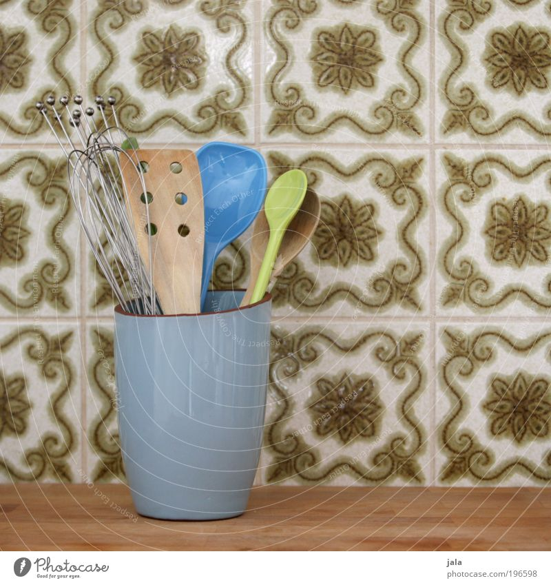 kitchen help Wooden spoon Bowl Decoration Utilize Tile Kitchen Helper Light blue Green Workplace Colour photo Interior shot Deserted Day Beater