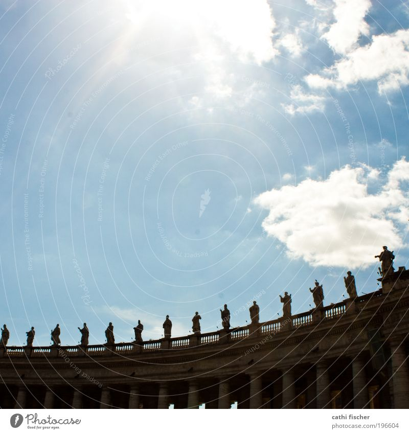 Sky Old Sun Summer Clouds Architecture Church Manmade structures Italy Beautiful weather Statue Column Dome Geometry Tourist Attraction Capital city
