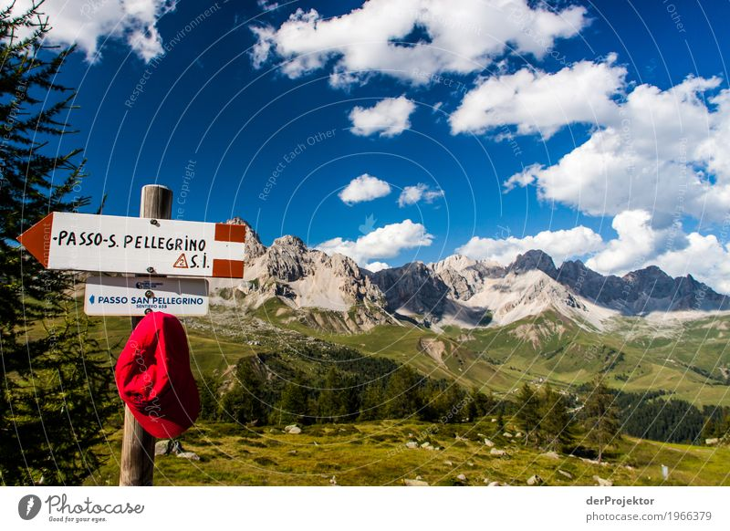 Hiking information with panorama in the Dolomites Central perspective Deep depth of field Sunbeam Sunlight Light (Natural Phenomenon) Silhouette Contrast Shadow