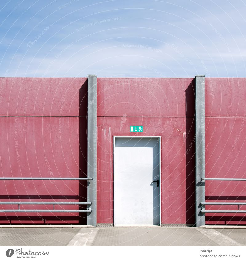 Sky Vacation & Travel Blue Summer Relaxation Red Wall (building) Architecture Lanes & trails Wall (barrier) Design Door Arrangement Signs and labeling Trip