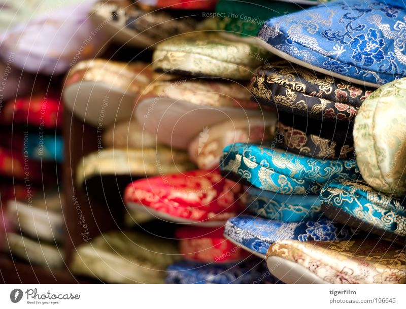 chinese silk slippers Blue Red Colour Background picture Gold Multiple Cloth Footwear Multicoloured Many Chinese Slippers Silk Human being Textiles