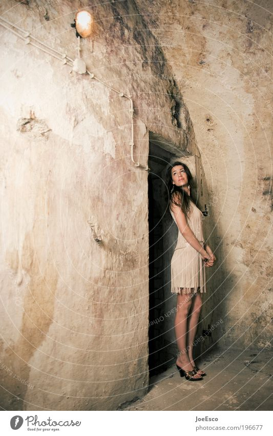 Woman Human being Beautiful Life Dark Cold Feminine Wall (building) Style Wall (barrier) Fashion Adults Portrait photograph Elegant Lifestyle