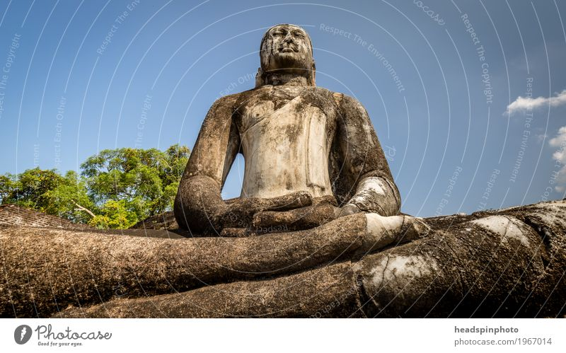Buddha statue made of stone in front of blue sky Vacation & Travel Tourism Trip Adventure Far-off places Sightseeing Sri Lanka Contentment